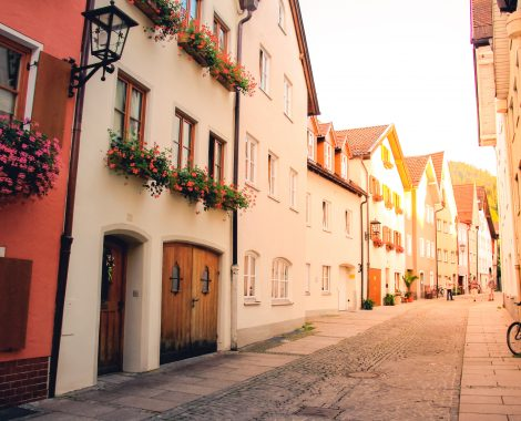 Street way of old buildings in Fussen, Bavaria, Germany
